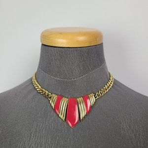 Vintage Gold Tone Pink Chain Collar Necklace